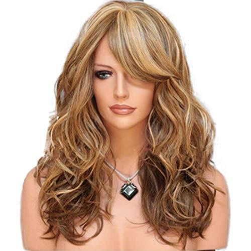 JOYIYUAN Damen Lange Rolle Perücke Multicolor langes lockiges Haar Chemie Kopfbedeckung (Hellbraun) (Color : Brown)