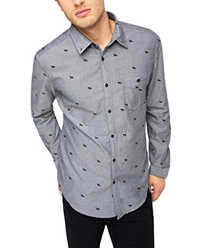 edc by Esprit 105CC2F004 Chambrey Shirt-Camicia Uomo    nero X-Small