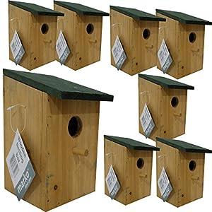 8 pc Traditional Wooden Nesting Boxes Bird Nest Wood House Small Birds Bluetit