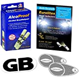 3 Piece Kit Headlamp Beam Deflectors Twin Pack French Breathalysers Long Expiry Date Magnetic GB Plate Eurolites Alcoproof Breathalyzer Good Quality NF approved Headlight Converters European Travel Kit Travel Abroad