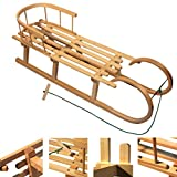 Unbekannt BAMBINIWELT Holzschlitten/Hörnerrodel mit RÜCKENLEHNE und Zugleine, aus Buchenholz, Kinderschlitten, 120cm