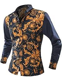 Versaces Los Hombres Camisa Simple Ocio La Moda Colorear La Solapa Manga  Larga La Camisa ca71fc28ab5ff