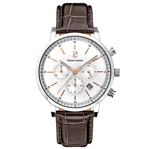Pierre Lannier–213–C124–Week End Vintage–reloj para hombre–cuarzo cronógrafo–reloj plata–pulsera de piel marrón