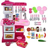 deAO KC2-P Little Chef' Kitchen Play Set with 30 Accessories, Light and Sound Features (Pink)