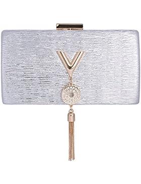 Damara® Damen Clutch Falten Buchstaben Abendtasche Mit Metall Quaste