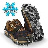 SUPTEMPO Steigeisen, Schuhkrallen mit 19 rostfreiem Stahl Zähne Anti-Rutsch Spike Steigeisen für Zustiege auf Schneefeldern, Wandern und Laufen im Winter (Schwarz, XL)