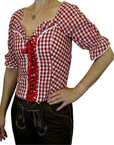 aufwändige Trachtenbluse Landhaus Mieder Marlies in verschiedenen Ausführungen, Größen:44;Farben:rot