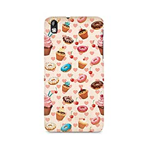 TAZindia Heart and Cakes Premium Printed Case For HTC Desire 816