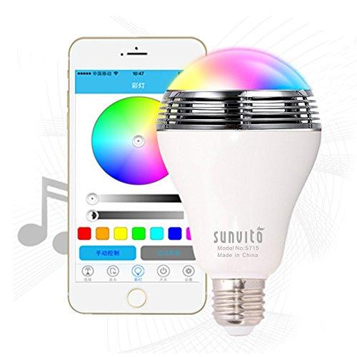 Intelligenter Bluetooth LED-Lampen-Lautsprecher, Sunvito 3 in 1 Neue Drahtlose Bluetooth 4.0 Lautsprecher-Musik-LED-Glühbirne 6W E27 / B22 Energiesparlampen Dimmable Bunt RGB LED-Birne für Partei-Dekoration-Beleuchtung,Kostenlos APP Gilt für iOS iPhone Androides Smartphone