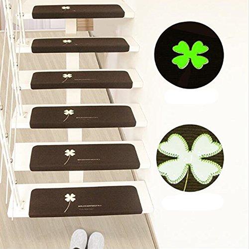 Touchfive Leucht Anti Rutsch Stufenmatten für Treppenteppich selbstklebend Anti Rutsch Streifen Treppenmatte Antirutschmatte für Außen Innen (dunkelkaffee)