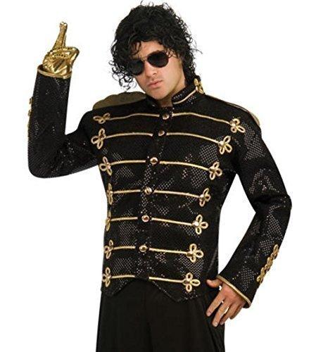 Offiziell Michael Jackson Militär Jacke Promi 1980s Jahre 1990s Kostüm Kleid Outfit S - L - Small, Schwarz, Schwarz (1980 Kostüme Für Jungen)