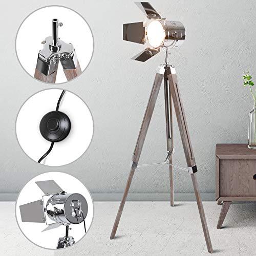 Lámpara de pie Proyector con Trípode de Madera | Diseño Foco Cinema,...