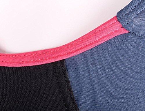 Aidonger Damen Verbindung Farben Badeanzug Knalliger Farbe Schwimmanzug EU36-EU50 Schwarz