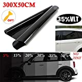 RENNICOCO Pellicola per vetri oscuranti per vetri oscuranti per vetri per Auto Nero 15% / 20% / 25% / 35% / 50% VLT