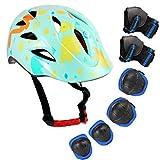 Speedrid Kinder Fahrradhelm, Kinder Beschützende Ausrüstung Knieschoner Kinderpolster, Ellenbogen und Knieschützer Pads mit Handgelenkschutz 6 in 1 für Extreme Sportaktivitäten