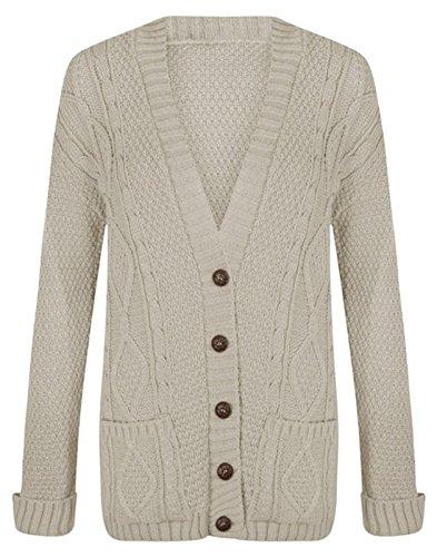 Fashion essentials-new Mesdames Câble Bouton en tricot épais Grandad Cardigan Beige - Stone