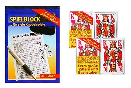 Spielset: Senioren Skat Karten + Knobelblock (Spielblock), mit extra großen Ziffern und Buchstaben ideal für Senioren