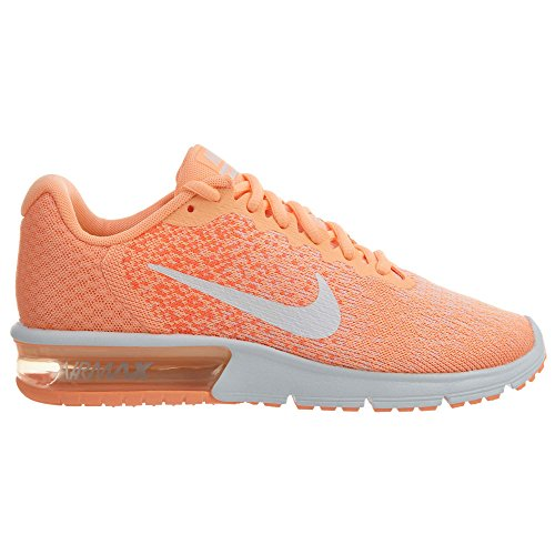 Nike Womens Air Max Sequent 2 Mesh Trainers Sunset Glow/White-hyper Orange