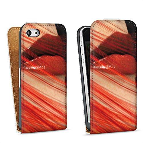 Apple iPhone 5s Housse Étui Protection Coque Lèvres Érotisme Féminin Sac Downflip blanc
