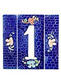 Hausnummern aus Keramik, Hausnummer Keramik blau, Dübel Steine NB 1.Dim: Höhe 15cm, Breite insgesamt 15,3cm