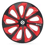 SPARCO SPC1673BKRD Sicilia 4 Stück Radzierblenden, Schwarz/Rot, 4 Stück, 16'