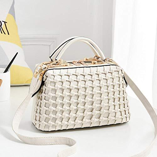 Fyyzg Mode Damen Handtasche Flut Reine Farbe Stahlclip Handtasche - weiß
