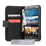 Yousave Accessories HTC One (M9) 2015 Tasche Schwarz PU Leder Brieftasche Hülle
