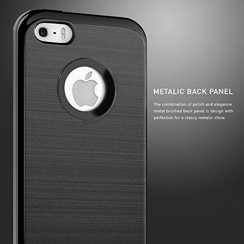 iPhone 5S Hülle, iPhone 5 Hülle, BEZ® Schlanke Weiche TPU mit Outdoor Stoßfestes Fallschutz Schutzhülle [Silber] [Silikon Slim Armor] für Apple iPhone 5S 5 SE Schwarz