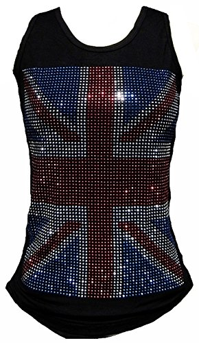 Rockabilly Punk Rock Baby Damen Diamante Strass Designer Tank Top Shirt Union Jack UK England Flagge schwarz Tattoo Design M 38/40 -