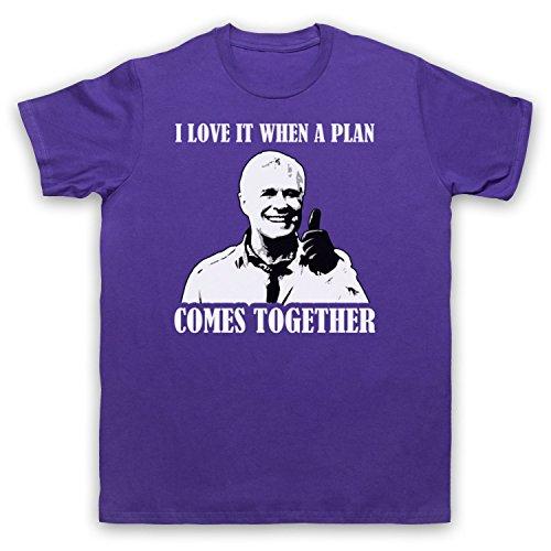 Inspiriert durch A Team Hannibal I Love It When A Plan Comes Together Unofficial Herren T-Shirt Violett