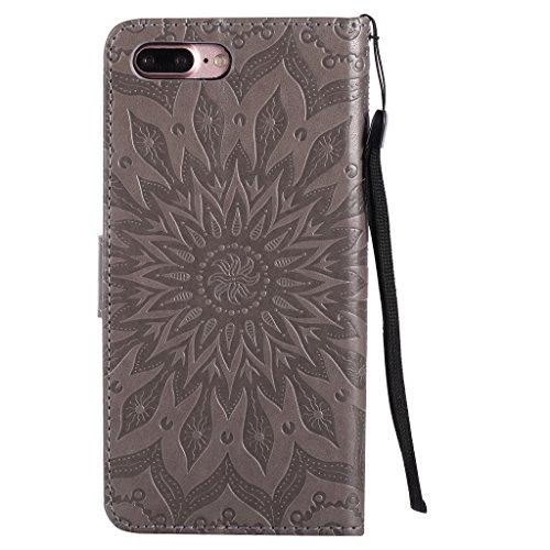 """Crisant Case Cover For Apple iPhone 7 Plus 5.5"""" (5,5''),3D Soleil gaufré conception portefeuille magnétique supporter PU cuir de flip protection housse coque étui pour Apple iPhone 7 Plus 5.5"""" (5,5'') gray"""