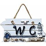 1pièce Coque antichoc faite à la main en bois suspendre Panneau de signalisation pour WC Autocollant WC Porte de salle de bain Décoration murale