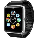 AngelRiver más nuevo reloj inteligente usable Bluetooth GT08 inteligente Salud Teléfono reloj de pulsera con la ranura para tarjeta SIM y la tarjeta del TF para el teléfono inteligente Android (no para IOS teléfono inteligente) de plata negro