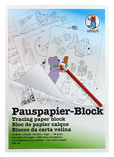 Ursus 7034600 - Pauspapier Block A4, 50 Blatt, 5 Vorlagen