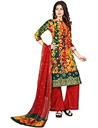 Taboody Empire Hilarious Multi Satin Cotton Handi Crafts Bandhani Work With Straight Salwar Suit For Girls And...