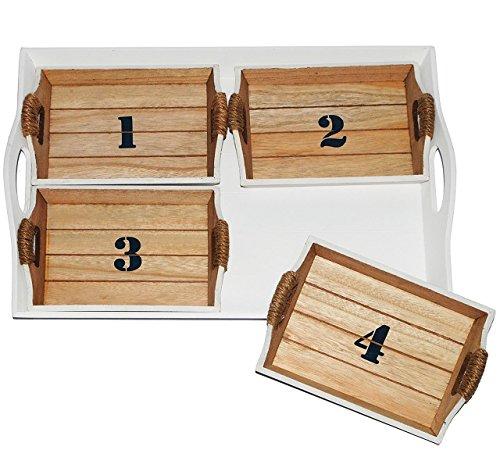 """5 tlg. Set: Holz Tablett - """" Maritim """" incl. 4 kleine Tabletts - 47 cm * 33 cm - groß / See Ostsee & Nordsee - auch zur Küchen Deko geeignet - Strand - Holztablett Küste - Strandkorb - Matrose"""