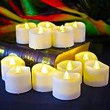 Benvo LED flammenlose Kerzen, 3.8cm elektrische flackernde batteriebetriebene teelichter, LED votivkerzen warme weiße, 12 Pack - 6