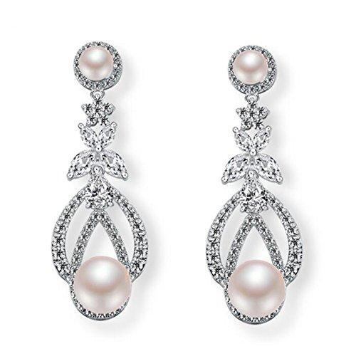 Hanie Silber Ohrringe für Damen Lang Groß Blumen Ohrhänger mit Elfenbein Perle Weiß Zirkonia Kristall Steine Ohrschmuck für Frau passt Abendkleid für Hochzeit Party