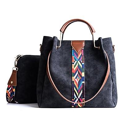 Tibes Femmes sac à main Porte-monnaie en cuir synthétique 2pcs ensemble sac Sac d'épaule Vintage Cartable de travail
