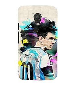 For Motorola Moto G2 :: Motorola Moto G (2nd Gen) man, footbollar, cream background, sports man Designer Printed High Quality Smooth Matte Protective Mobile Case Back Pouch Cover by APEX