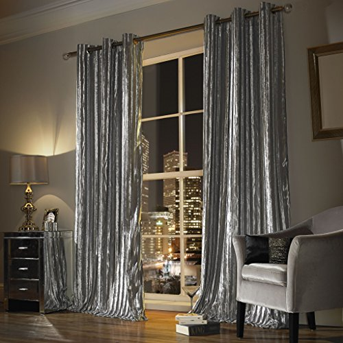 Iliana Silver Eyelet Curtains by Kylie Minogue Home Living (66 inches wide x 90 inch drop) by Kylie Minogue