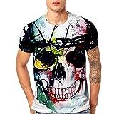 Mamum Herren-T-Shirt mit Totenkopf-Motiv, 3D-Druck, kurzärmeliges Oberteil mehrfarbig mehrfarbig L