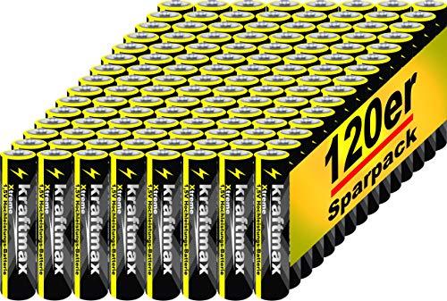 kraftmax 120er Pack Micro AAA 1,5V Alkaline Batterie - Xtreme Industrial Longlife Performance - Hochleistungs- Batterien für maximale Leistung - Neuste Version