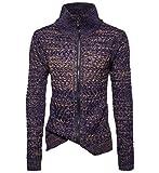 Trada Herren Stricken Rollkragenpullover Herbst Winter Sweater Sweatshirt Reißverschluss Slim Fit Jumper Pullover Strickwaren Outwear Tops Mantel (M, Blau)