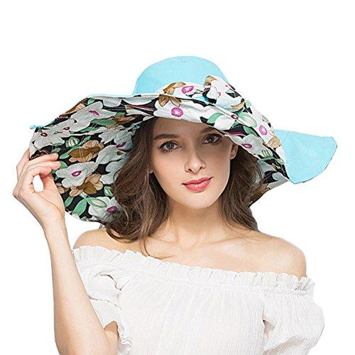 RIONA Damen Frauen breite große Brim Sonnenhut Reversible Floppy Sun Hüte Foldable Roll up Sommer Strand Anti-UV UPF 50+ Sonnenschutz Hut Cap Reversible Brim Hut