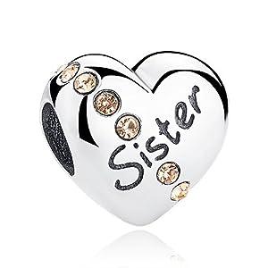 """Charm-Anhänger in Herzform mit Aufschrift """"Sister"""",925erSterlingsilber,für Pandora, Biagi & Troll etc."""
