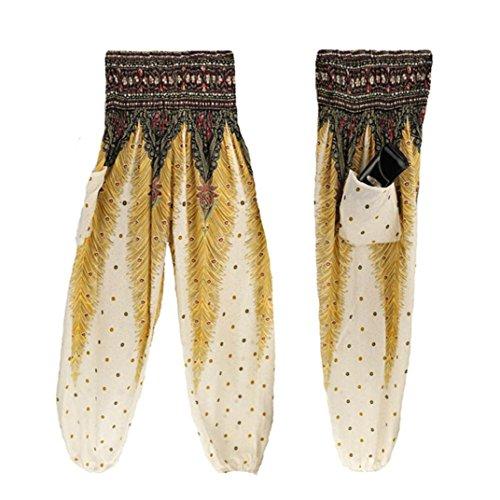 Damen Yoga Leggings, SHOBDW Männer Frauen Thai Harem Hosen Boho Festival Hippie Kittel Hohe Taille Yoga Hosen (One Size, Weiß) (Spandex Taille Jeans Elastische)