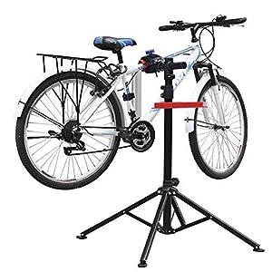 51c7gVI6ePL. SS300 amzdeal Supporto Cavalletto per Bicicletta 115-170CM Riparazione Manutenzione Bici 4 Gambe capacità di Carico 50kg…