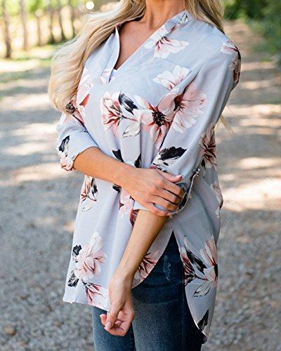 Autunno Maglie a manica lunga Donna Moda Camicie a Fiori Shirts V Collo Bluse Tunica Top T-Shirt Top Grigio