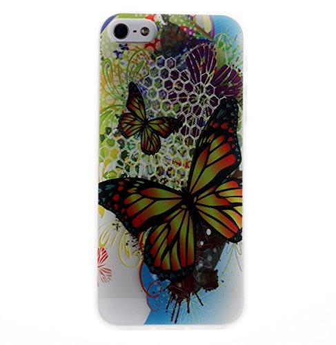 iPhone 5S Hülle, Voguecase Silikon Schutzhülle / Case / Cover / Hülle / TPU Gel Skin für Apple iPhone 5 5G 5S SE(Lace Teppich 06) + Gratis Universal Eingabestift Groß Bunt Schmetterling 01